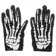 Halloween Fancy Dress 3D Skeleton Bones Pattern Full-Finger Gloves - Black + White (Pair)