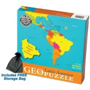 GeoPuzzle Latin America Educational Geography Jigsaw Puzzle w/Free Storage Bag