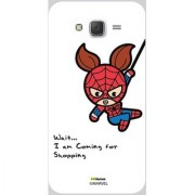 Hamee Original Marvel Designer Cover Slim Fit Plastic Hard Back Case for Samsung Galaxy On7 / On 7 (kawaii spider woman going for shopping white cover)