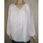Hand embroidered Romanian blouse - BR2008 - pink - long sleeves - M - L size
