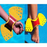 Muñequeras - Tobilleras Acuáticas Thera-Band Aquafins: 2 manguitos + 4 aletas + malla transporte + guía de ejercicios