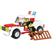 Speed Car 89 Pcs Building Blocks Set Police Rescue Full Time 4 X4 Truck With Emergency Light Bar And Ladder Used By 2 Uniformed Policemen Give It To Your 5+ Rescue Volunteer In A Lego Compatible