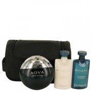 Bvlgari Aqua Pour Homme Eau De Toilette Spray + After Shave Balm + Shower Gel + Pouch Gift Set Men's Fragrances 537616