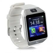 Bluetooth reloj inteligente con tarjeta SIM ranura para tarjeta TF de hacer llamadas de teléfono 2.0 MP Apoyo mensaje notificación podómetro Monitor de sueño compatible con Android y iOS sistema, DZ09 With Camera white, PD-1