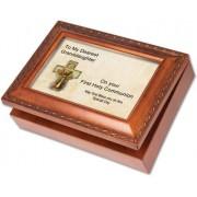 Cottage Garden First Communion Granddaughter Woodgrain Music Box / Jewelry Box Plays Light Up My Lif