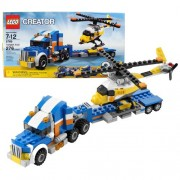 Lego Year 2010 Creator Series 3 in 1 Vehicle Set #5765 - TRANSPORT TRUCK with Helicopter or Alternative Mode:...