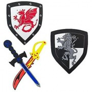 Children's Foam Toy Medieval Joust Dual Dragon Sword & Shield Knights Set Lightweight Safe for Birthday Party Activities Event Favors Toy Gifts by Super Z Outlet