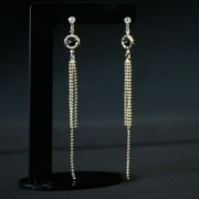 Semi Earring Jewelry Gold Plated Base Strass Spiked 1 Round Stone Resin with 3 chains Bolinha