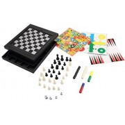 [8 In 1 ] [2~4 Player] Abs Plastic Magnetic Travel Game Chess/Checkers/Backgammon/Chinese Checkers/Nine Mens Morris Game/Snakes&Ladders Game/Ludo Game/Goose Game