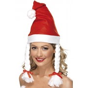 Santa hat with pigtails for women (gorro/ sombrero)
