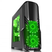 CiT G Force-Gaming Case con ventola LED verde anteriore, Nero