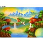 Original Painting Thai Art- Abstract Landscape scene-Asian Art AW-04