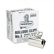 "Bulldog Clips, Steel, 7/8"" Capacity, 2-5/8""w, Nickel-Plated, 12 Per Box"