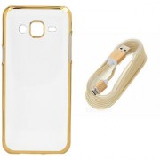 DKM Inc Soft Golden Chrome TPU Cover and Golden USB V8 Data Cable for Gionee F103 Pro