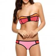 Bandeau bikini Neopreen Rits Oranje Roze