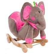 KinderKraft Schaukeltier Schaukelspielzeug Wippe aus Holz mit Melodien, Farbe:Pink Elefant