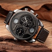 Oulm Watches Male Quartz-Watch Casual Leather Strap Military Wristwatch Men's Watch Top Brand Luxury Clock relojes hombre