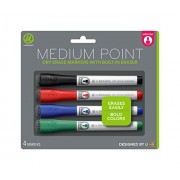 U Brands Low Odor Dry Erase Markers With Erasers, Medium Point, Assorted Classic Colors, 4-Count