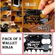 Wallet Ninja 18-in-1 Survival Tool Kit Multifunction Credit Card Style Pack Of 3 CodepS-2133