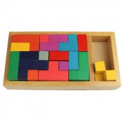 Rompecabezas de madera Tetris estereo Montaje Pan Domino Juguete - Multicolor