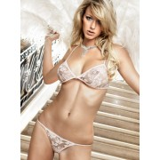 Baci Light Pink Bikini Set with Triangle Bra and gentle Flower Embroidery 782