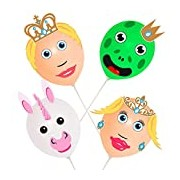 Novelty Balloon Prince And Princess Heads (Set of 4)