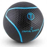 Capital Sports Medba 7 Balón medicinal 7kg (Adecuado para ejercicios de entrenamiento core, functional training y Cross-Training, goma negro)