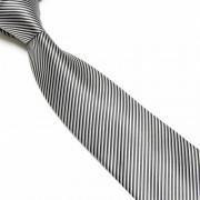 """""""Black/Silver Thin Striped Microfibre Tie"""""""