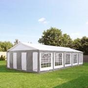 Profizelt24 Partyzelt 5x10m PE grau-weiß Gartenzelt, Festzelt, Pavillon