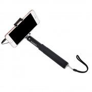 Selfie stick monopod rezistent cu fir / jack (Negru)