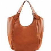 Grand Sac Epaule Fourre-Tout Cuir Camel Femme -Tuscany Leather-
