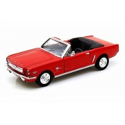 1964.5 Ford Mustang Convertible, Red - Motormax Premium American 73212 - 1/24 Scale Diecast Model Car