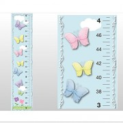 Growth Chart Butterfly Garden Clouds Sky Flowers Butterflies Wall Decal Vinyl Sticker. Kids Height Measurement Charts Decals Children's Nursery & Baby's Room Decor Baby Walls Girls Bedroom Decorations Child's Art Stickers Measure Growing Babies Keepsake