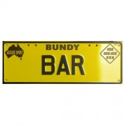 """""""Novelty Number Plate - Bundy Bar - New Series - Black On Yellow"""""""
