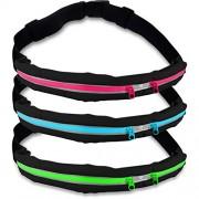 Cinturón de running »Run4Fun« elegante riñonera / Riñonera / Cinturón para running, senderismo, escalada, equitación - 3 colores / Móviles de hasta aprox. 5,5 pulgadas / ¡elástico, impermeable y ajustado! Verde