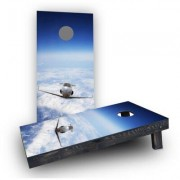 Custom Cornhole Boards Private Jet Flying Above The Clouds Cornhole Game Set CCB136-2x4-AW / CCB136-2x4-C Bag Fill: Whole Kernel Corn