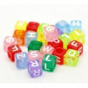 Navlékací kostičky s abecedou průhledné barevné 100 ks