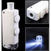 Handheld 160X-200X Zoom LENS LED Lighted Pocket Microscope Magnifier Loupe