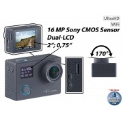 4K-Action-Cam für UHD-Videos mit 2 Displays & 16-MP-Sony-Sensor, IP68
