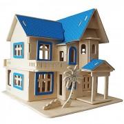 G-AH001 Asamblea bricolaje juguete fantastico Modelo Cottage - Madera Color Azul +