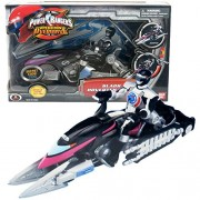 Bandai Year 2006 Power Rangers Operation Overdrive Series 8 1/2 Inch Long Action Figure Vehicle Set Black Hovertek Cycle That Morphs To Chopper With 2 Missiles Plus Black Ranger Figure