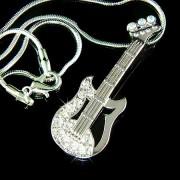 Swarovski Crystal Music Gibson Electric Guitar Pendant Necklace