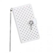 Husa Flip Cu Stand Nokia Lumia 630 Litchi Piele PU Cu Diamante Alba