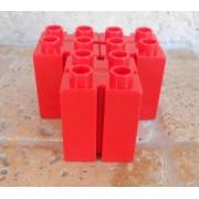 Légo Duplo Lot - 3 Briques Rouges - Pour Pilier De Maison - Fentes Sur Les Côtés