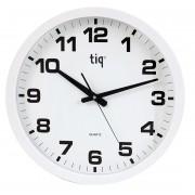 Ceas rotund de perete, D-400mm, cifre arabe, TIQ - rama plastic alba - dial alb