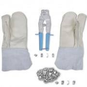 vidaXL NATO комплект за прорязваща тел, ръкавици и инструмент със скоби