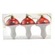 Set 3 globuri pentru brad in forma de ciuperci rosii