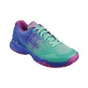WilsonKAOS COMP W - Zapatillas de Tenis Mujer, Azul / Verde / Rosa