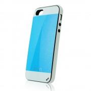 Калъф с кожен гръб Fashion Style – силиконов за IPhone 5s син-бял