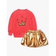 GearBest Kids Crown Print Sweatshirt + Mini Skirt
